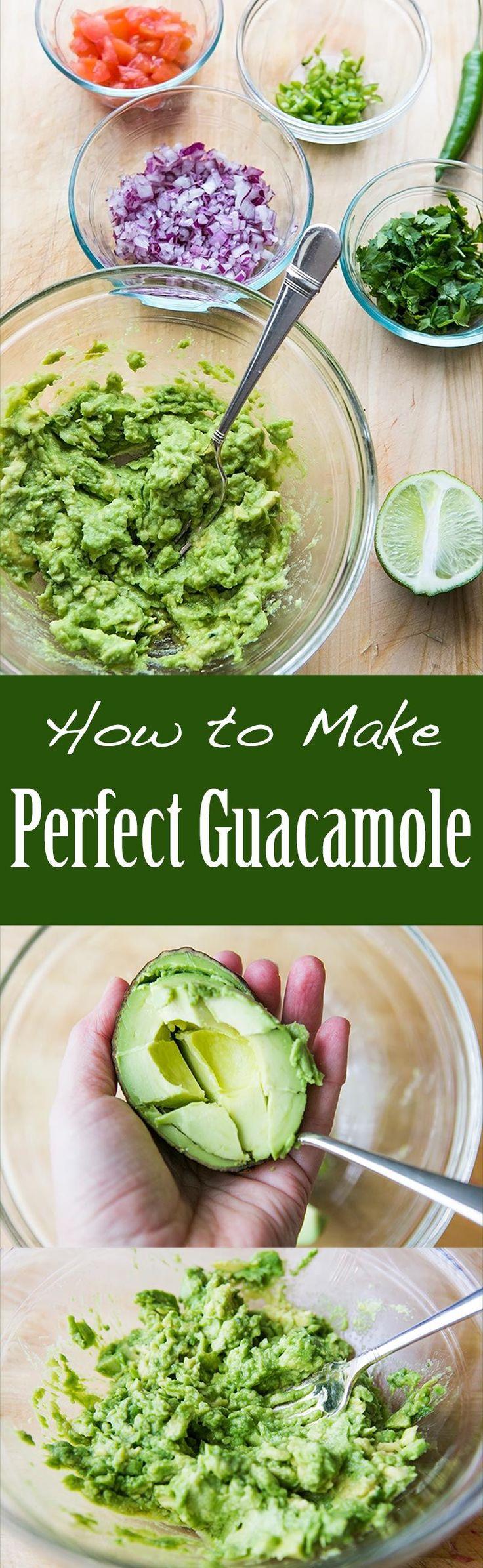 BEST guacamole ever! So EASY to make with ripe avocados, salt, serrano chiles, cilantro and lime. On SimplyRecipes.com