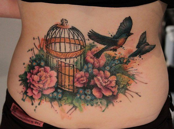 Watercolor Low Back Tattoo - 60  Low Back Tattoos for women  <3 <3