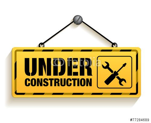 Vector: Under Construction Sign in White Background. 3D Mesh