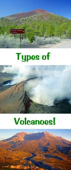 Learn about the three main types of volcanoes - Sheild, Strato and Cinder Cones. Click here to read our article on about these volcanoes and the rocks that they form:   http://www.minimegeology.com/blog/2010/03/24/igneous-rocks-are-made-from-volcanoes/