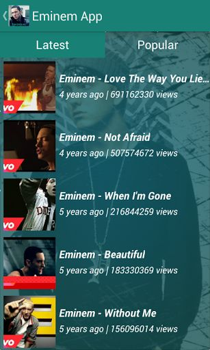 """Watch a collections of Eminem's Video, Lyrics, Music and more from your Android! <br>You'll be the first to know about tour dates, promotions, releases and other exclusive content of Eminem.<p>Feature : <br>All latest video's<br>Lyrics<br>Facebook Page<br>Tweeter Page<br>News about Eminem<br>Video Share option<p>Disclaimer :<br>This is an unofficial Eminem app and the purpose of this app is for entertainment only. This application complies with US  Copyright law guidelines of """"fair use""""…"""