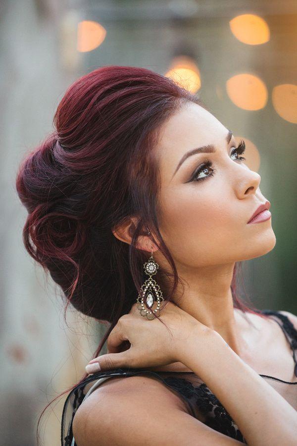 dark red hair in updo