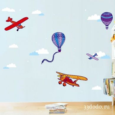 Airplanes and air balloons on wall. Design from 33dodo.