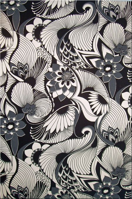 Technical advances in Florences studio included printing onto metallic surfaces. She was an innovator for her time. Love how much depth this monochrome wallpaper has - even though it's black and white it's still really interesting