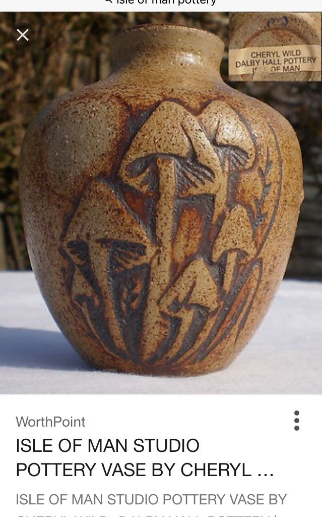 Mushroom vase by Cheryl Wild, Dalby Hall Pottery, Isle of Man - label CW mark W mark