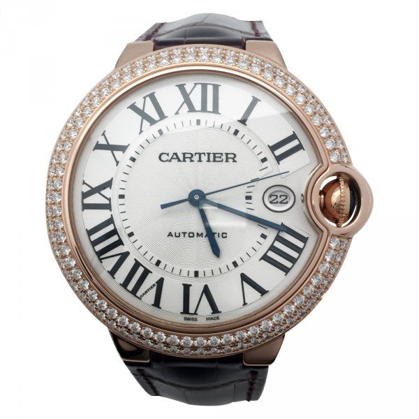 """Montre Cartier """"Ballon Bleu"""" or rose et diamants sur cuir."""