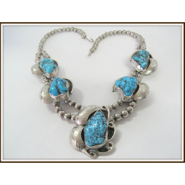 Sterling Silver Necklace -Vintage Squash Blossom Turquoise Stones... ($350) via Polyvore featuring jewelry, necklaces, blossom necklace, vintage jewellery, vintage jewelry, turquoise stone necklace and vintage flower jewelry