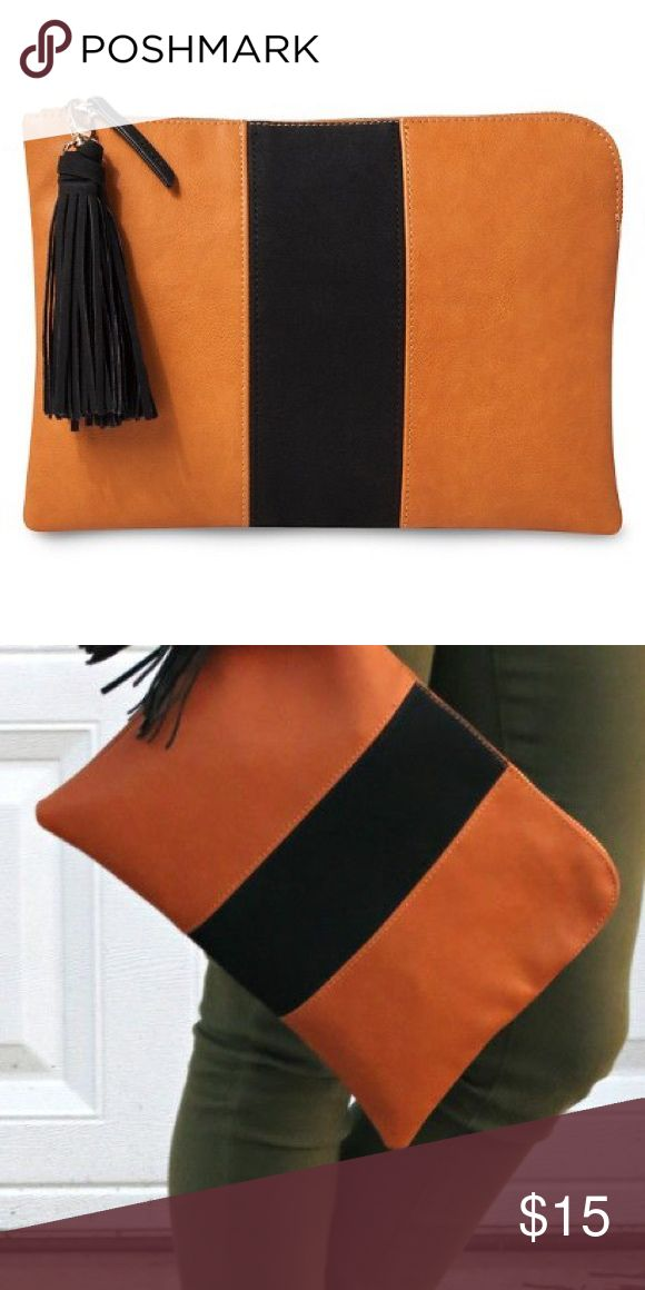 Who What Wear Tan Black Stripe Clutch w/o tassel Who What Wear for Target                                        Tan clutch with faux suede clutch Who What Wear for Target  Bags Clutches & Wristlets