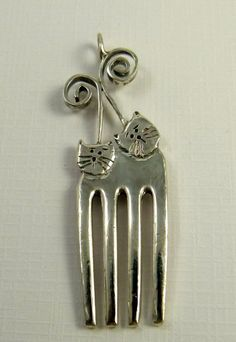 Fork Cats Bensyn And Twilla - Up Cycled Sterling Silver And Sterling Silver Fork - Art Jewelry Pendant - 1338