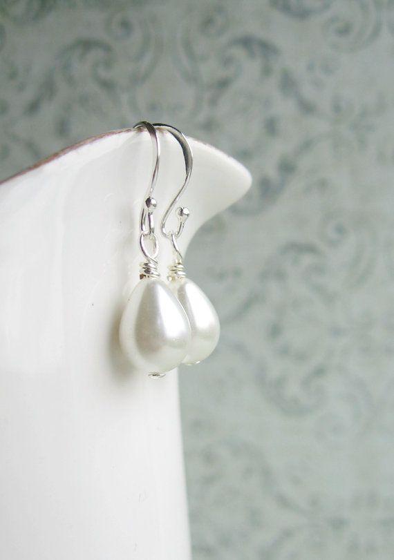 White faux pearl teardrops, sterling silver 925.
