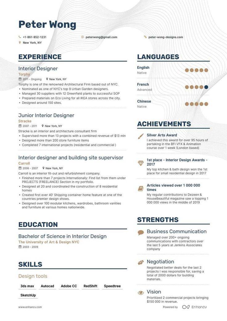 JobWinning Interior Designer Resume Examples, Samples