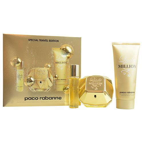 PACO RABANNE LADY MILLION by Paco Rabanne EAU DE PARFUM SPRAY 2.7 OZ & BODY LOTION 3.4 OZ & EAU DE PARFUM SPRAY .5 OZ MINI (TRAVEL OFFER)