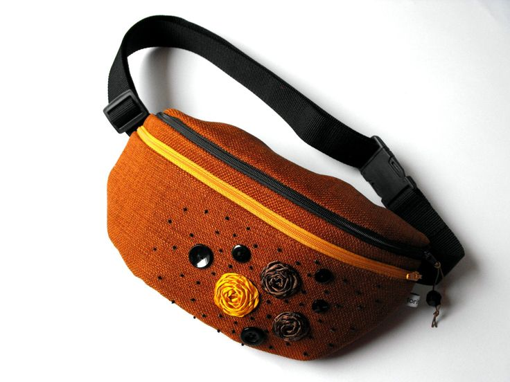 fanny pack/hip bag - brown with yellow and brown flowers (large size) by toritextil on Etsy