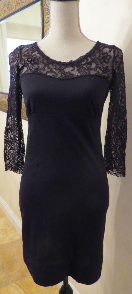 Free People Black Stretch Knit Dress with Lace Sleeves/Neckline Sz M