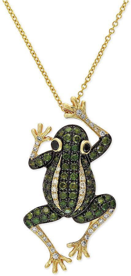 $2,240, Green Pendant: Diaverde By Effy White Diamond Frog Pendant Necklace In 14k Gold. Sold by Macy's.
