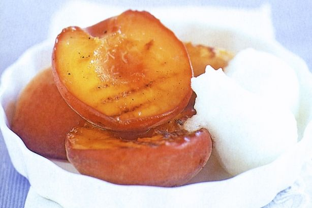 Chargrilled Peaches With Sorbet - These sweet grilled peaches are a quick and easy dessert after the summer barbecue.