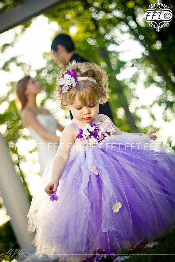 Etsy の Purple Flower Girl Dress Tutu Dress by FrillyFairyTales