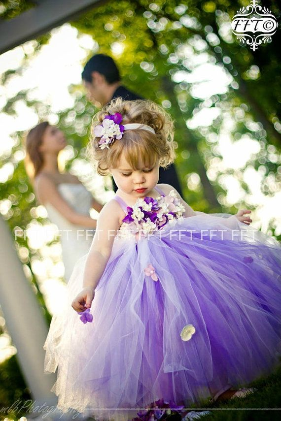 Robe de fille de fleur mauve, robe Tutu