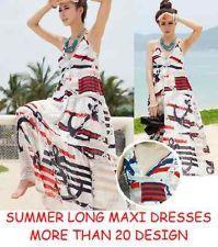 Women Ladies Girls Summer Long Sexy Nautical Print Maxi Boho Beach Party Dress