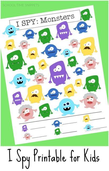 I SPY Printable for Kids: Monsters