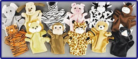 Take home these adorable velour animal hand puppets. The dozen includes 12 different kinds of animals ! Includes: pig, monkey, zebra, tiger,...
