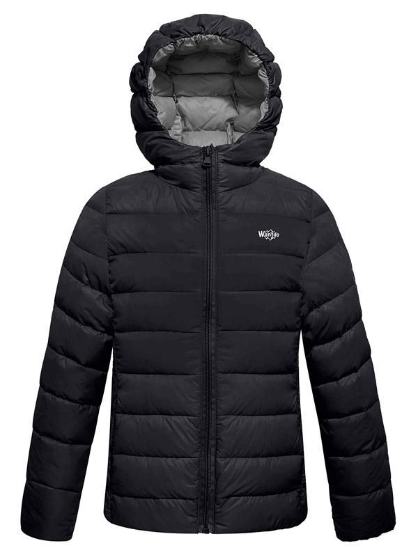 Wantdo Boys Puffer Jacket Lightweight Down Vest Hooded Packable Coat Outdoors