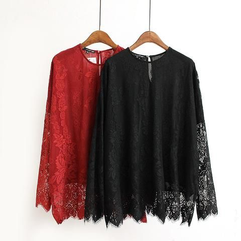 Women Lace Solid Black Red Flower Blouse 2017 Spring Fashion O-Neck Long Sleeve Sweet Shirts Female Tops Plus Size Blusas