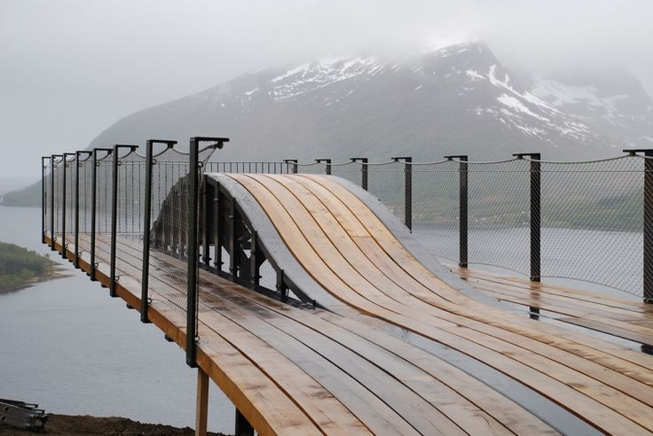 Viewpoint Bergbotn, Senja  Code architecture's cantilevered bridge offers stunning views of the North Atlantic and the canyon below.  Norway.