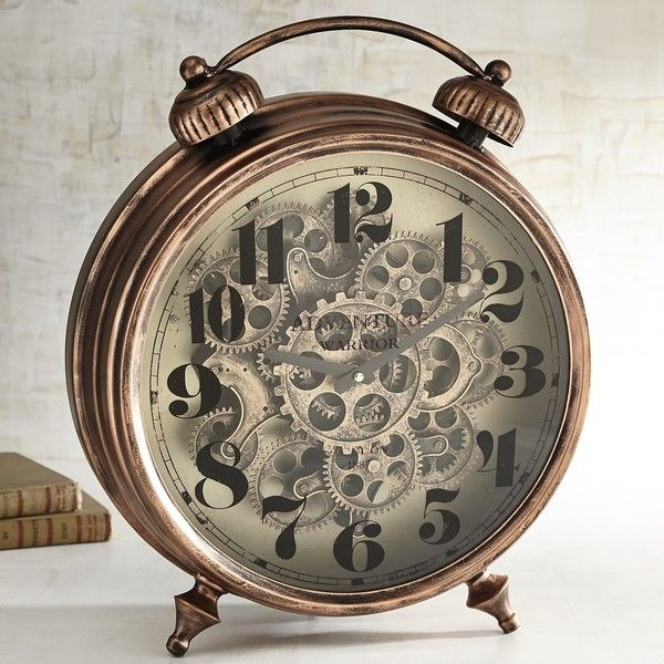 Pier 1 Imports Patina Gear Desk Clock ($100) ❤ liked on Polyvore featuring home, home decor, clocks, brown, pier 1 imports, iron clock, gear clock, mantel-clock and mantel clocks