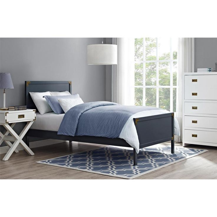 miles graphite blue twin bed frame with headboard and footboard