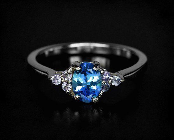 Blue Tanzanite ring, rose gold engagement ring, 21st birthday gift