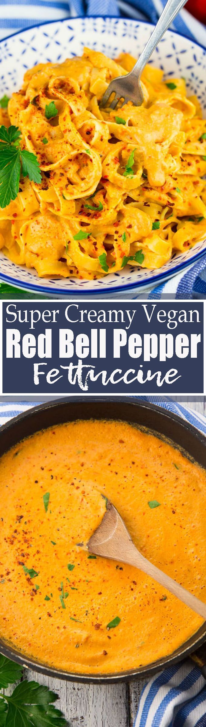 This vegan roasted bell pepper pasta is the ultimate comfort food! It's supe…   – vegan dinner recipes