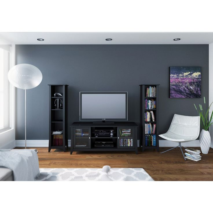 Megalak Finition Tuxedo 58 in. TV Console with 60 in. Slim Bookcases - Black - MFI547