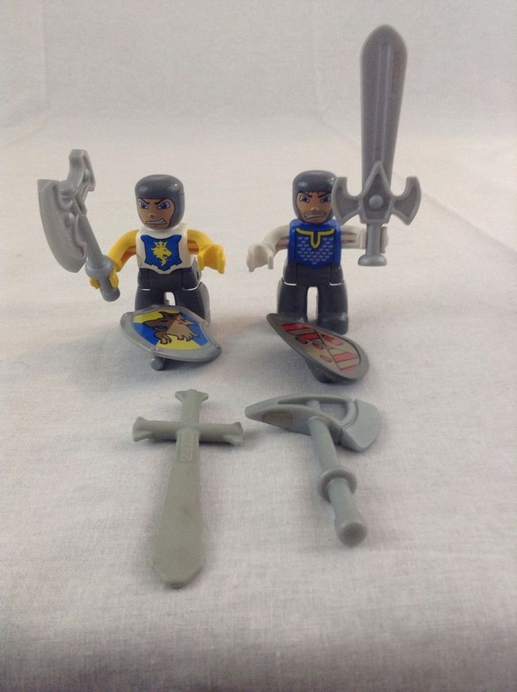 Lot Of 2 Lego Duplo Schloss Burg Figur Ritter Knights W/ Weapons Minifigure Toy #Lego