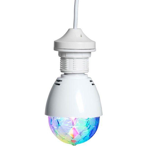 Discolampa med LED-belysning. Roterar 360 grader och ger ett discoliknande ljussken. E27-sockel. Efffekt: 3W, 240V.