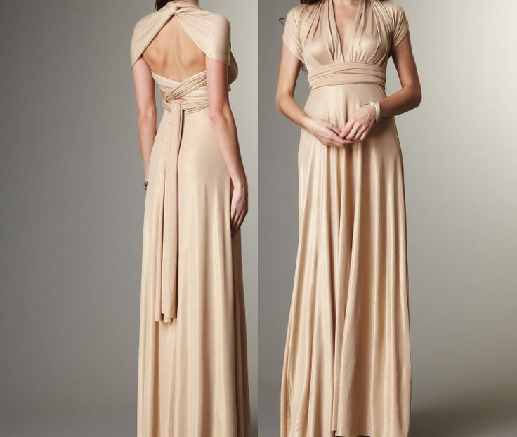 Long A-line floor length Convertible Infinity Dress in Natural ...