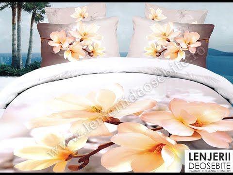 Lenjerie de pat 3D magnolii albe A-8271 Cumparati aceasta lenjerie de pat intrand aici http://www.lenjeriidepatdeosebite.ro
