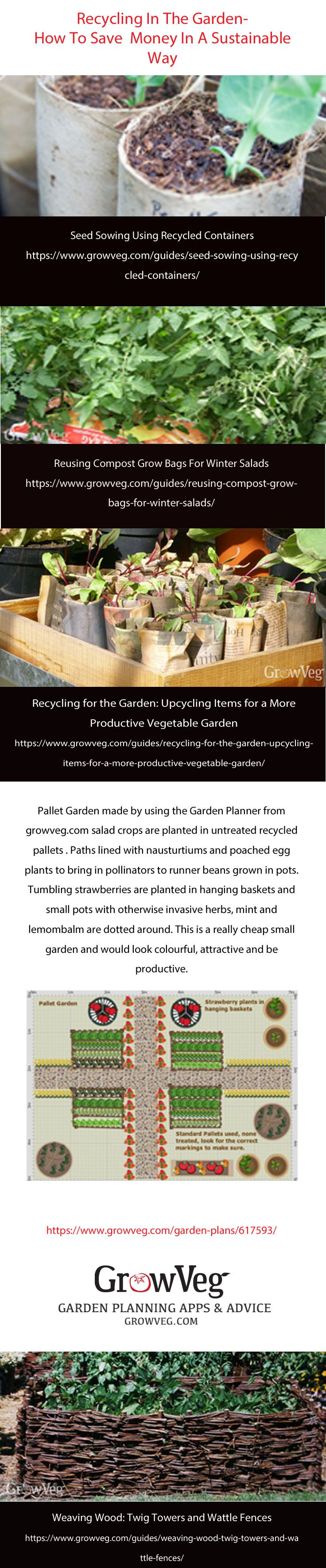 Recycling in the garden, how to save money by reusing every day throw away items and how to grow more whilst using them in a different way. How to make your own biodegradable pots, how to grow salads in old compost bags, a  plan and links for your own pallet garden and many other tips and tricks to get the most out of this gardening year without buying new.