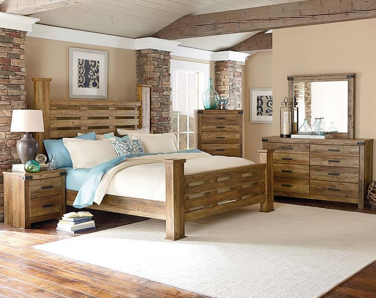 Casual, Rugged, Brown, Pine Wood Bedroom Furniture|Montana Bedroom Set | American Freight