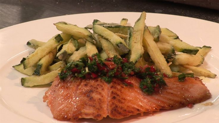 How to make salmon trout with zucchini fritti | by Theo Randall