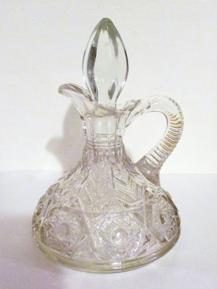 ANTIQUE HAND BLOWN PRESSED GLASS CRUET WITH STOPPER ...