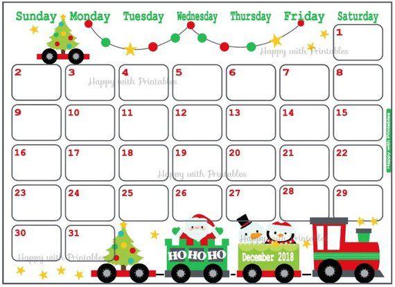 Calendar December 2018 Christmas Planner Printable Cute