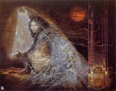 The Spider Woman, sometimes referred to as The Spider Grandmother, is portrayed in Native American myth as the Mother who created all life. The woman who sits in the middle of the universe spinning her web connecting all living life to each other. She was honored in tribes such as the Navajo and the Hopi Indians.