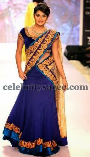 Navy Blue Chiffon Velvet Half Saree | Saree Blouse Patterns