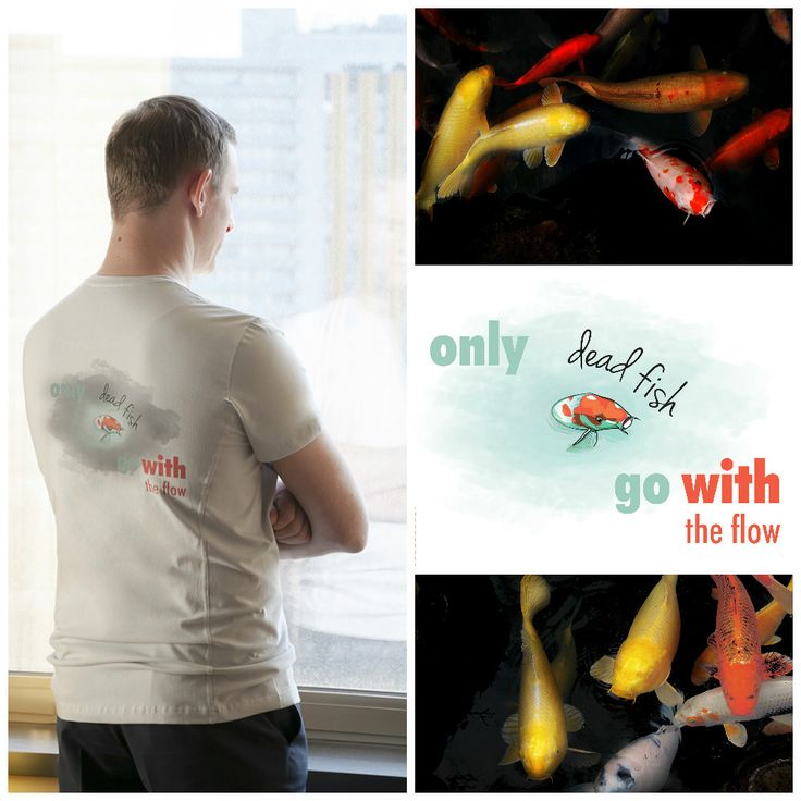 """Graphic """"Only dead fish go with the flow"""" on tee called ACTION from Motivation Factory Poland / Motywująca grafika na koszulce Action"""