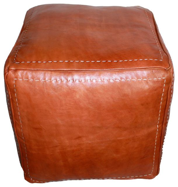 Moroccan Square Leather Ottoman, tan modern-ottomans-and-cubes