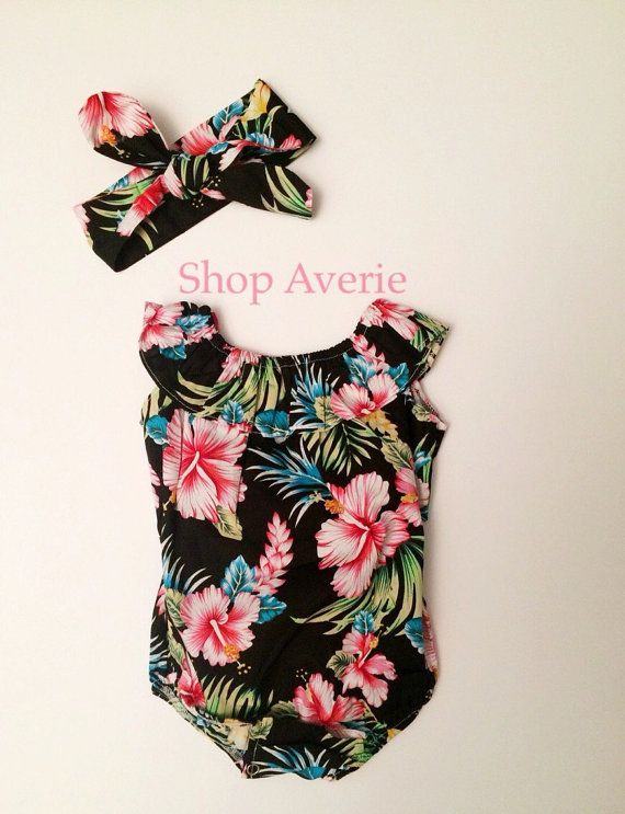 Baby girl tropical bubble romper Hawaiian print by ShopAverie