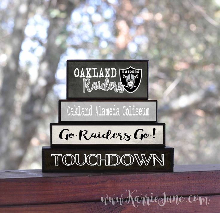 OAKLAND RAIDERS block set...sports...for him...man cave...NFL sign Seahawks, Titans, Bears, Colts, Packers, Patriots, Raiders by KarrieJunePrimitives on Etsy