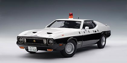 Mustang Mach 1 Japanese Police Car diecast scale model by Autoart