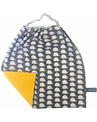 Bavaglio con Elastico - Grigio con Stampa Balene - 100% Cotone (Perfetto per l'asilo: si infila dalla testa senza lacci!)